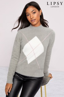Lipsy Argyle Eyelash Jumper