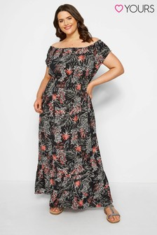 Yours Curve Gypsy Maxi Palm Leopard Dress