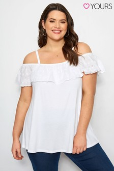 Yours Curve Frill Embroidered Bardot Top