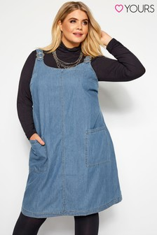 Yours Curve Denim Pinafore Dress