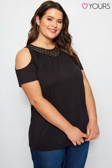 Yours Curve Black Shoulder Top