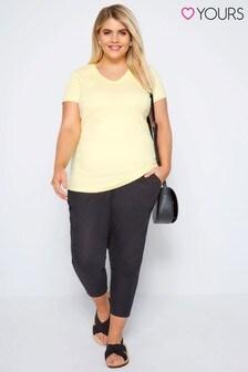 Yours Curve Linen Blend Capri Trousers