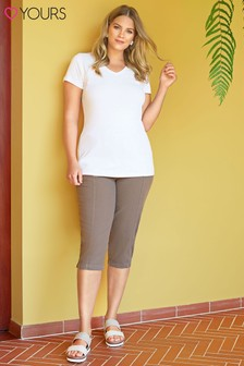 Yours Curve Cotton Crop Trousers