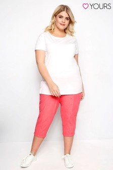 Yours Curve Cropped Cotton Trousers