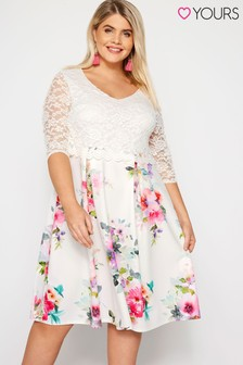 Yours Curve Floral Print Lace Overlay Dress