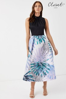 Closet Tie Waist Pleated Dress