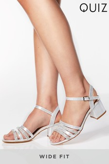 Quiz Wide Fit Diamanté Strappy Block Heel Sandals