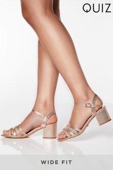 Quiz Wide Fit Diamanté Strappy Block Heel Sandals