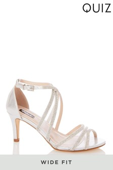 Quiz Wide Fit Satin Diamanté Mesh Mix Cross Strap Heeled Sandals