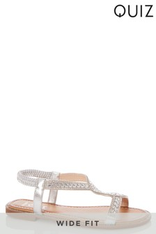 Quiz Wide Fit Diamanté Asymmetric Strap Flat Sandals