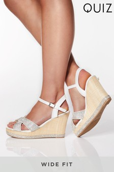 Quiz Wide Fit PU Diamanté Cross Vamp High Wedge