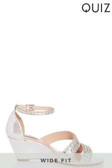 Quiz Wide Fit Shimmer Diamanté Asymmetric Strap Wedge