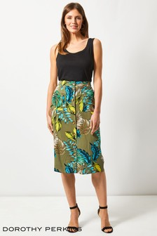 Dorothy Perkins Tropical Button Through Midi Skirt