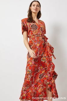 Dorothy Perkins Paisley Ruffle Front Wrap Dress