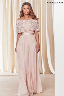 Sistaglam Bardot Embellished Maxi Dress
