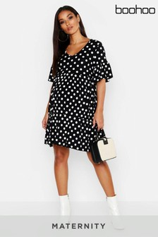 Boohoo Maternity Polka Dot Smock Dress