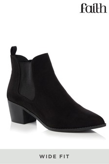 Faith Wide Fit Block Heel Boots