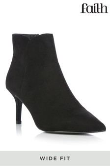 Faith Wide Fit Stiletto Pointed Ankle Boots