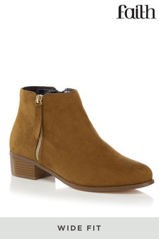 Faith Wide Fit Side Zip Ankle Boots
