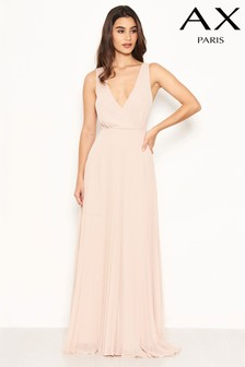 AX Paris Pleated Chiffon Lace Strap Maxi Dress