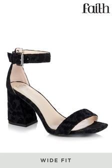 Faith Wide Fit Barely There Block Heel Sandal