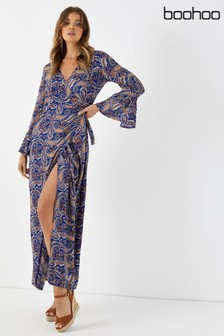 Boohoo Printed Wrap Maxi Dress