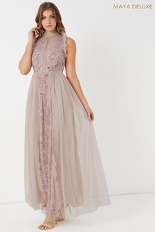 Maya Embellished Lace Trim Maxi Dress