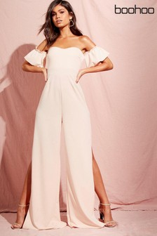 Boohoo Bardot Gathered Sleeve Wide Leg Jumpsuit