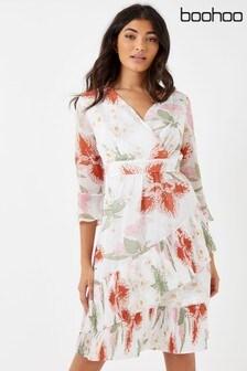 Boohoo Floral Frill Detail Wrap Midi Dress