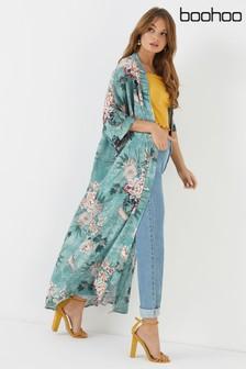 Boohoo Oriental Floral Print Maxi Kimono