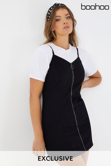 Boohoo Zip Through Denim Dress