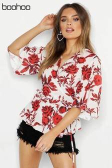 Boohoo Woven Floral Wrap Blouse
