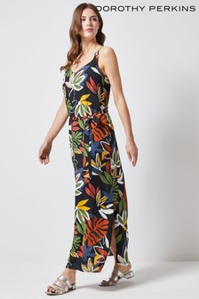 Dorothy Perkins Black Tropical Print Maxi Dress