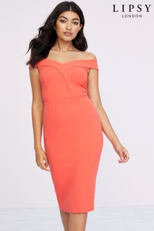 Lipsy Bardot Bodycon Midi Dress