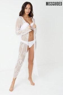 Missguided Eyelash Lace Kimono Coverup