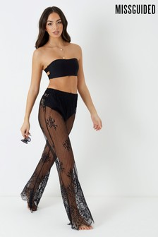 Missguided Eyelash Lace Wide Leg Trouser Coverup