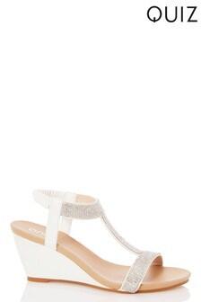 Quiz Faux Leather Diamanté T-Bar Wedge Sandals