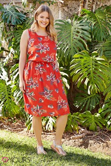 Yours Curve Tropical Print Skater Dress