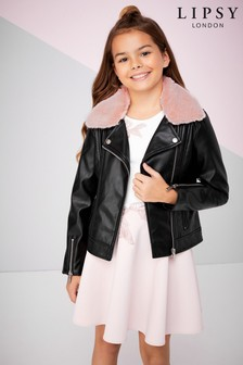 Lipsy Girl Faux Fur Collar PU Biker