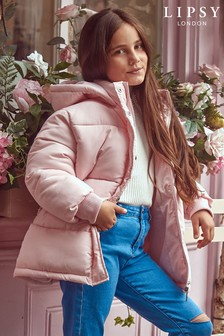 Lipsy Girl Pink Belted Padded Coat