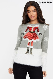 Fashion Union Fluffy Sequin Mrs Claus Jumper