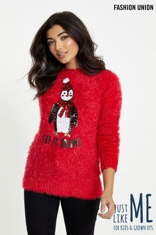 Fashion Union Fluffy Sequin Penguin Jumper