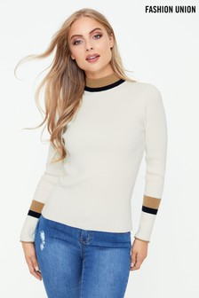 Fashion Union Contrast Trim Jumper