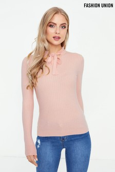 Fashion Union Tie Neck Jumper