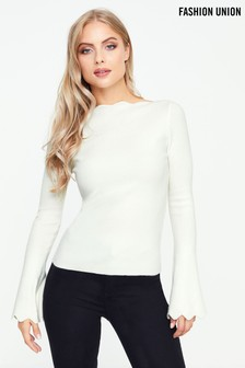 Fashion Union Scallop Edge Jumper