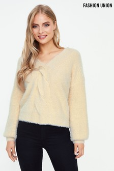 Fashion Union Cable Detail Fluffy Jumper