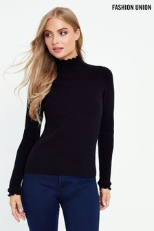 Fashion Union Rib Jumper With Contrast Trim