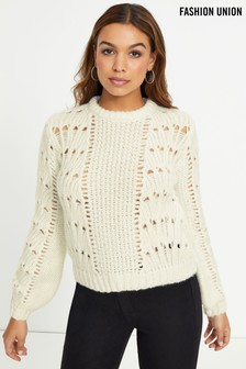 Fashion Union Chunky Pointelle Jumper