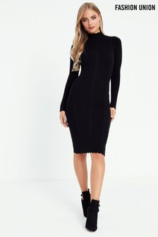 Fashion Union Rib Bodycon Dress