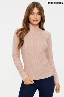 Fashion Union Rib Jumper With Pearl Detail
